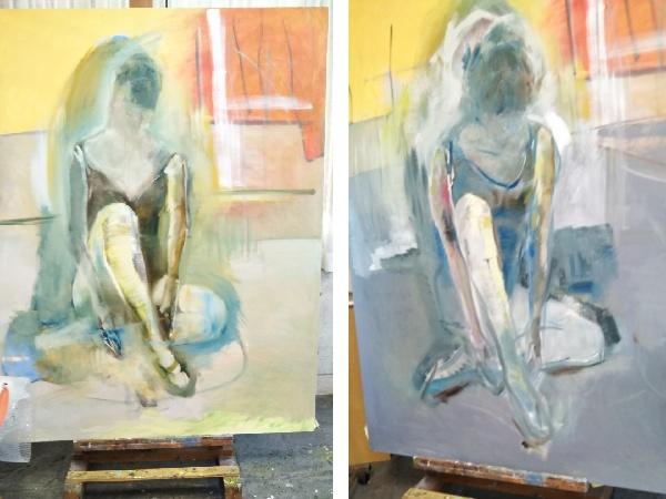 左の作品は 大ざっぱに描きはじめたレオタードの人。右は1週間後手を加え少しうつむき加減や画面上の配置、床の感じを変えた同じ作品。これからもどんどん変わります。未完の作品です。