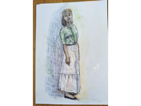 色鉛筆スケッチ「女性の立像」