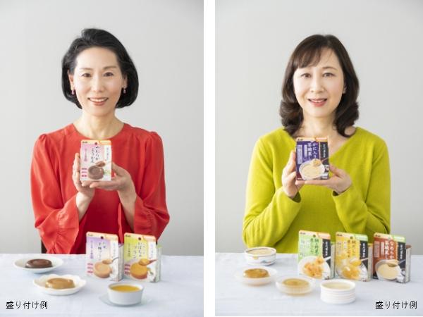 蒲池香寿代さん(左)と大木典子さん(右)/盛り付け例