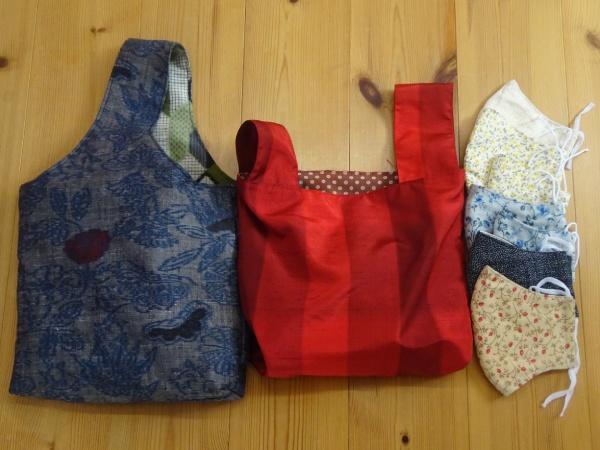 雑誌ハルメク掲載のバッグと3重マスク