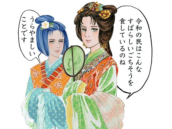里中満智子が特別に描いた正月料理をうらやむ額田天皇