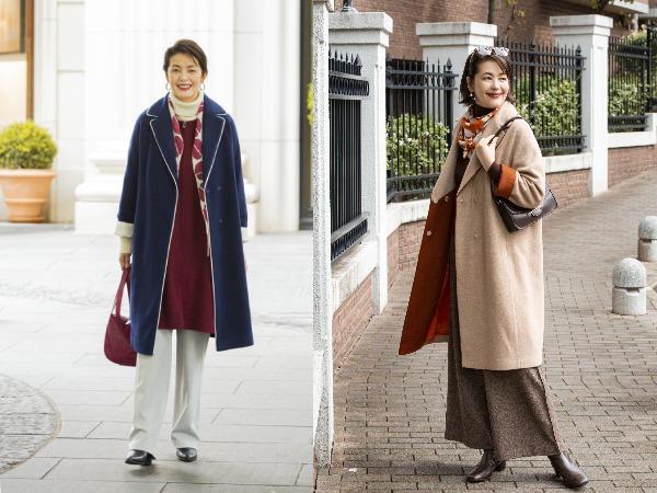 50代女性の冬のコートファッション