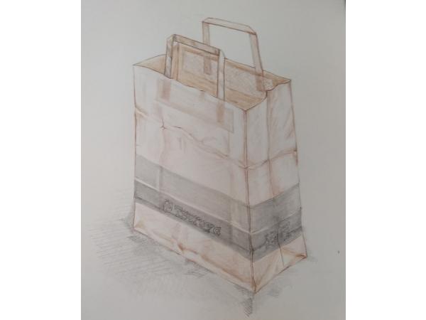 紙袋の鉛筆デッサン