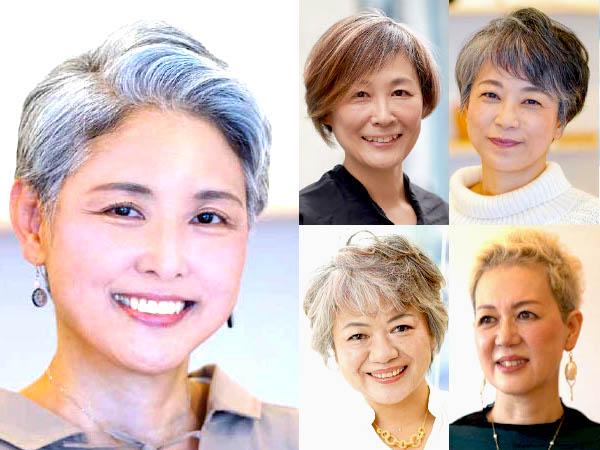 50代女性のグレイヘアカタログ(ショート)
