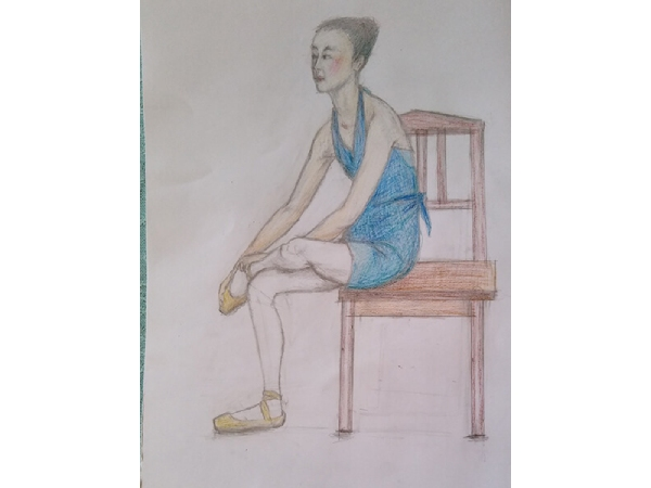 色鉛筆画の「バレリーナの女の子」