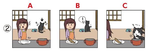 ことわざイラスト並び替え問題2:猫にかつおぶし