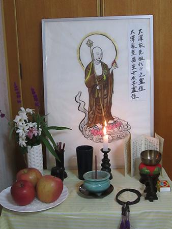 仏壇の代わりに地蔵菩薩様の写仏を代用