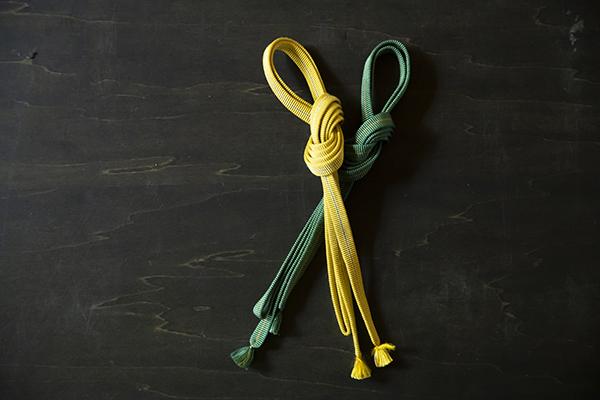 真田紐を帯締めに。「真田紐は、京都の紐屋さんなどで購入しています」