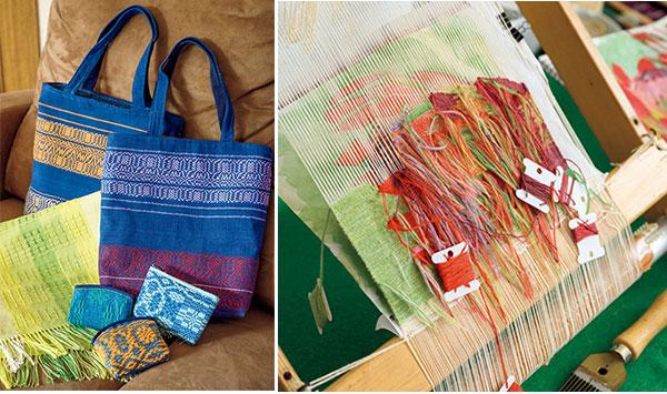 40年ほど前に趣味で始めた手織りは糸を染めるところから手作り