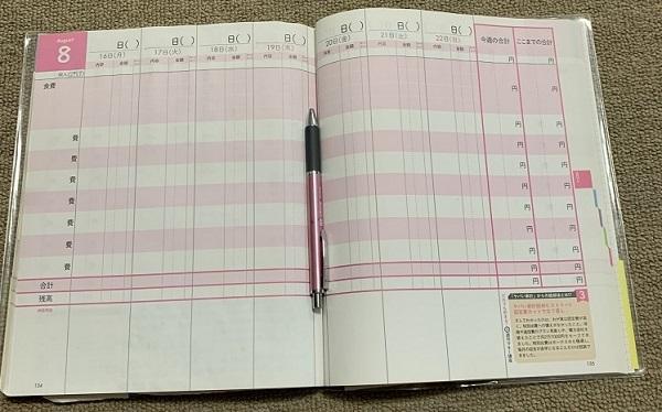 家計簿にその日の出来事を添えれば、家計簿日記に!