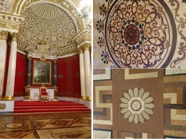 エルミタージュ美術館の美しい床の寄木細工