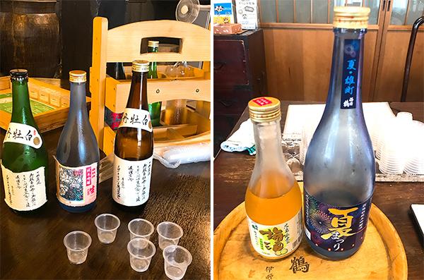 (左)西条鶴醸造の夏限定酒(右)白牡丹酒造では3種試飲