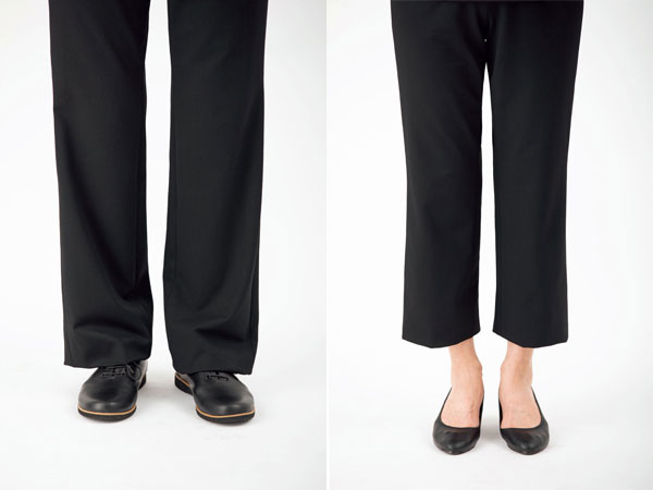 パンツの裾は、くるぶし丈にして軽やかに
