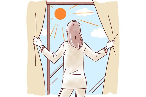 朝起きたら、太陽の光を浴びる