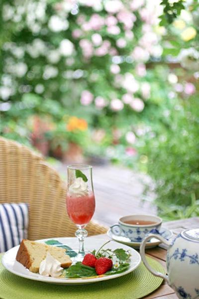 庭でバラを眺めながらのお茶time……幸せな時間です!