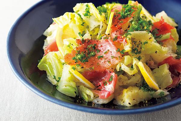 時短レシピ:キャベツと生ハムのサラダ