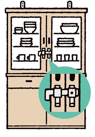 家具、食器棚、冷蔵庫などの固定