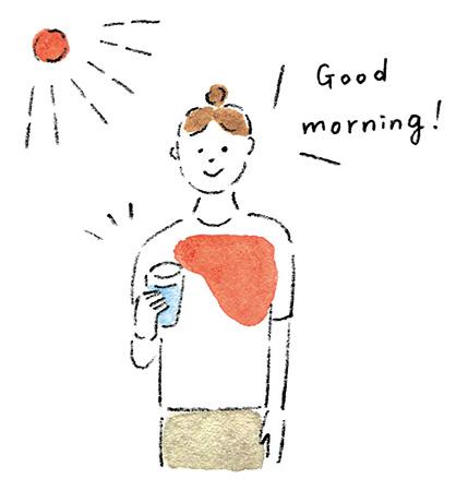 自律神経を整えるアイデア3:朝起きたらコップ1杯の水を飲み、日中もこまめに水分補給