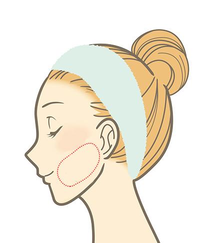 ファンデーションの色を選ぶときは、頬骨の下の部分で。