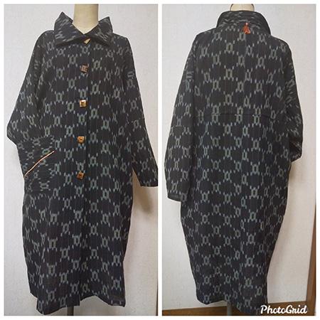 絣の着物で作ったワンピース