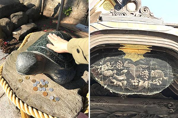 /なでると金運アップにつながる?亀の石像 18-2写真右/ 本堂のリスとぶどうの彫刻