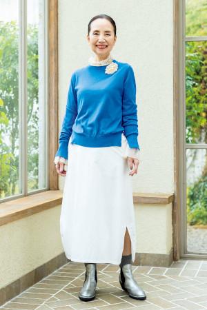 60代女性のファッションコーディネート(吉岡美恵子さん)