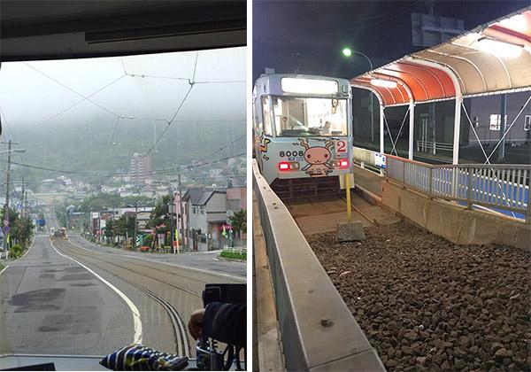 (左)谷地頭駅手前の急坂(右)終点・谷地頭駅