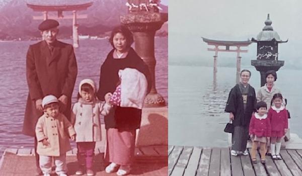 父も一度、義母も一度遠くに住む娘家族・息子家族を訪ねてくれました。姪も甥も記念撮影はいつもこの場所