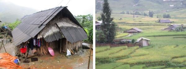 村の住居の様子を見ながら歩く