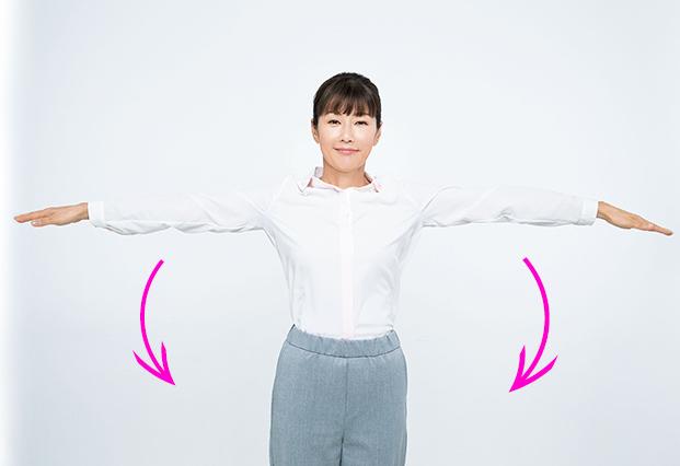 ひじの高さはそのままで腕を水平にのばし、ゆっくり下げ、肩を後ろに4回回します。