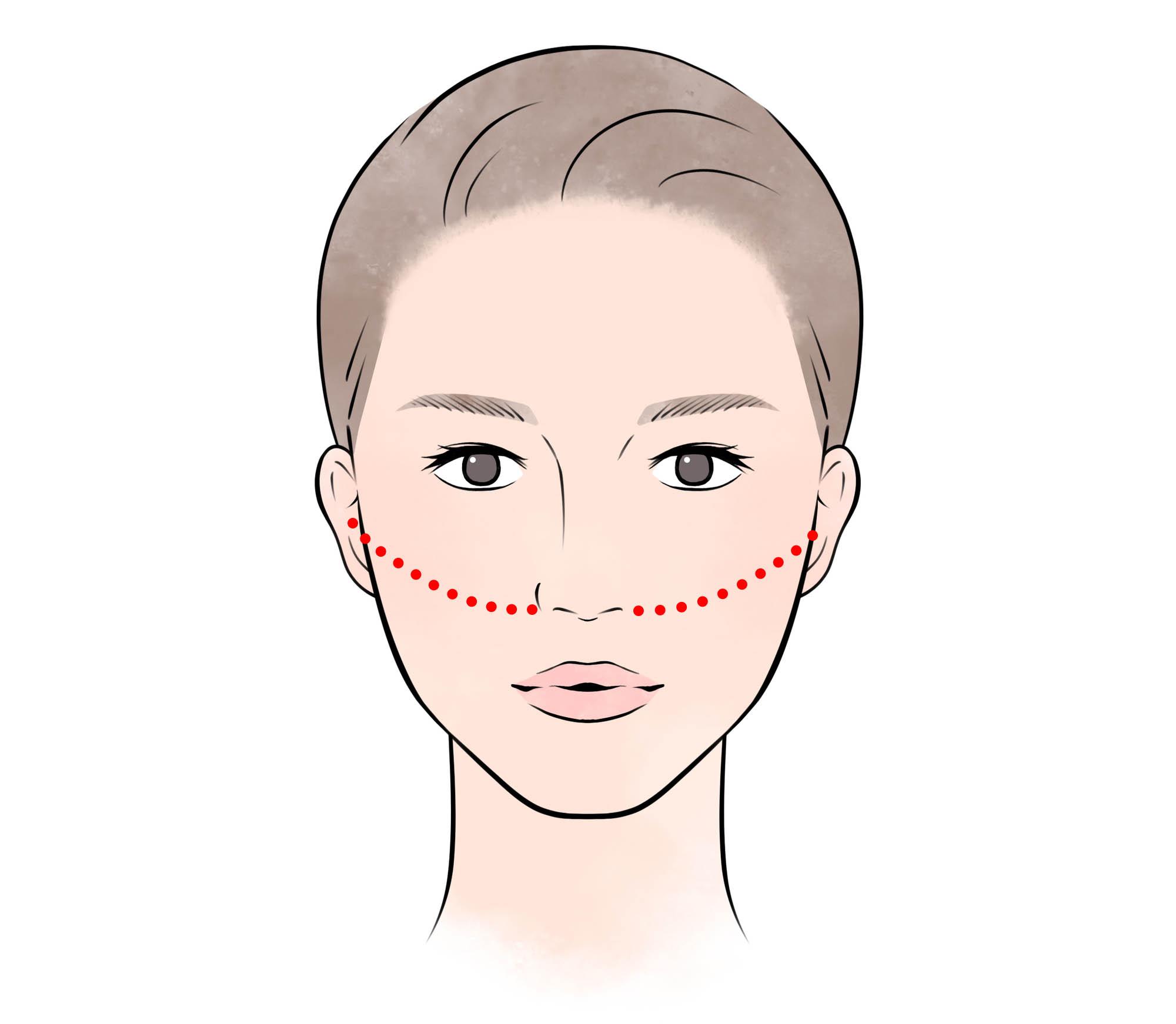 チークを入れる位置は、小鼻と耳をつなぐ線よりも上にしましょう
