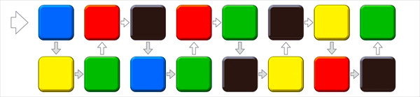 大人の脳トレ問題2:左から、ジグザグに四角の色を声に出していってください。