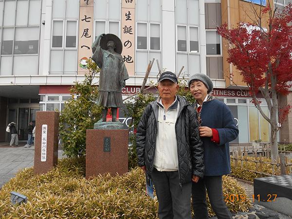 七尾駅前 長谷川等伯の像(生誕の地)