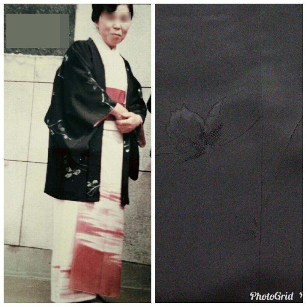 母の裾模様のきものと黒に染めかえた道行コート