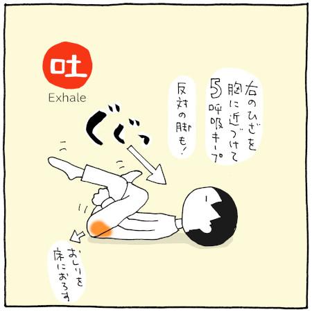大殿筋を伸ばすエクササイズ:手順3(膝を胸に近づける)
