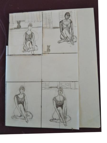 構図と人物の配置の思案図