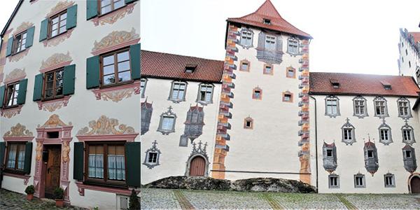 よく見ると、多くの建物はトリックアート(だまし絵)が施されています