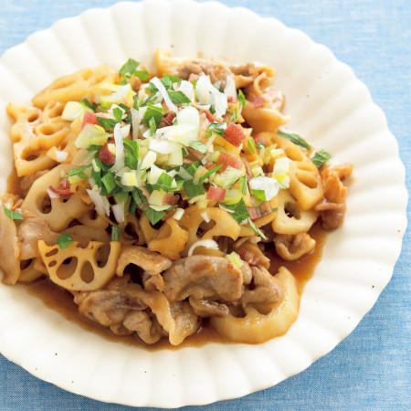 大葉ミックスの料理レシピ1:豚肉とレンコンの甘酢炒め