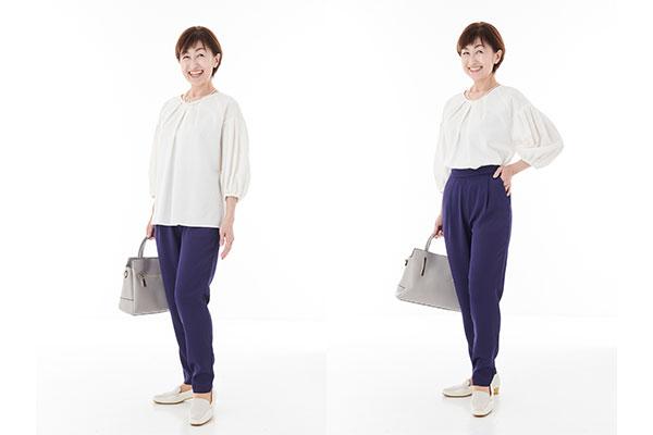 美脚に見えるファッション3:トップスの丈を調整