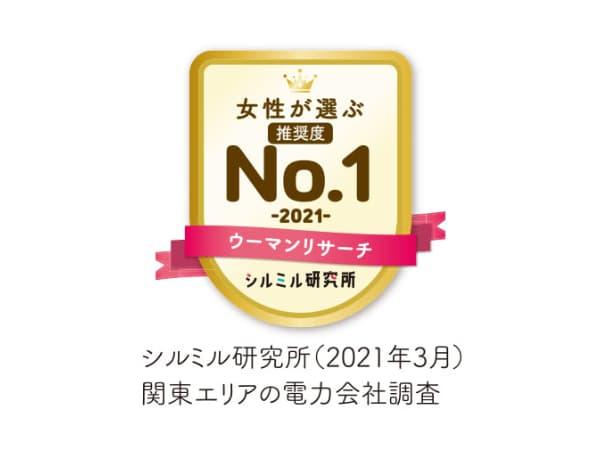 女性が選ぶ推奨度No.1 関東エリアの電力会社調査 シルミル研究所(2021年3月)