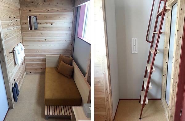 (11-1写真・プライベートルーム(ダブル)1階)(11-2写真・2階へははしごで