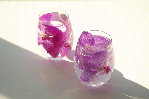 グラスを使って、水の中に花を生ける