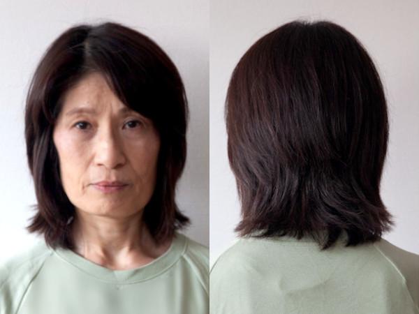 高橋さん(62歳):イメチェンビフォー写真(フロント・バック)