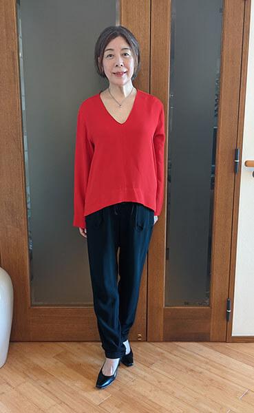 ZARAの真っ赤なブラウスを着て5年経過