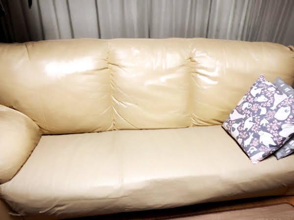 22年前に購入した革張りソファ