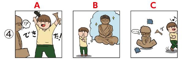 ことわざイラスト並び替え問題4:仏造って魂入れず