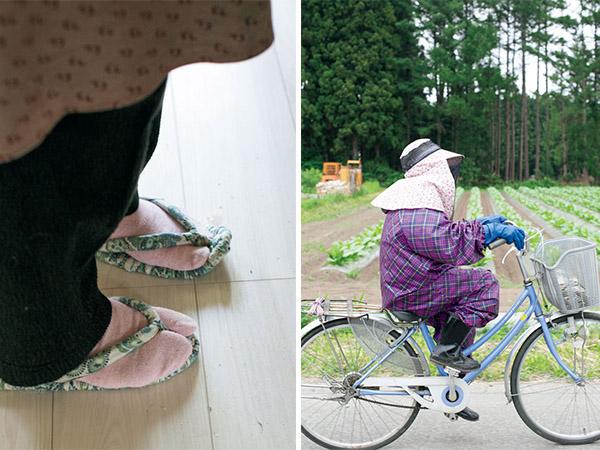 笹を採りに山へ行くときは自転車で。力強くこぎ、スピードも速い。加工所内では布草履を愛用しています。
