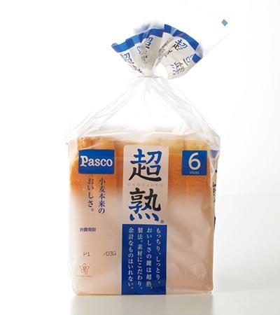 「超熟」(パスコ)は、 甘味があり、もっちり食感。日本人が好む味。