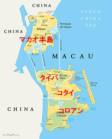 マカオの面積は約33平方キロメートル
