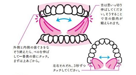 殺菌ベロ回しのやり方:上あご一番奥の左右の歯に触る